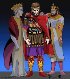 The fallen Constantine XI with the first Roman emperor Augustus Caesar (left) and first Byzantine emperor Constantine I (right)