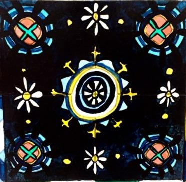 My version of the Galla Placidia mosaics in my bathroom