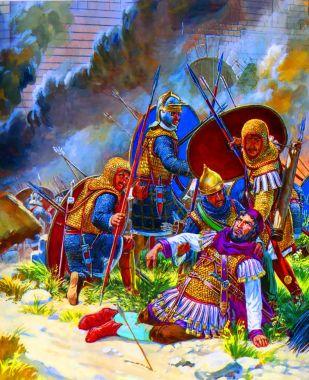 Gallienus injured by an arrow in the civl war against Postumus