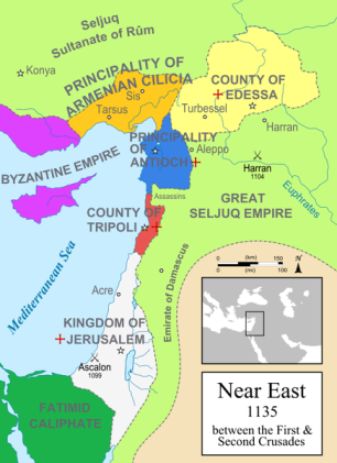 Map of the Outremer Crusader states, 1135