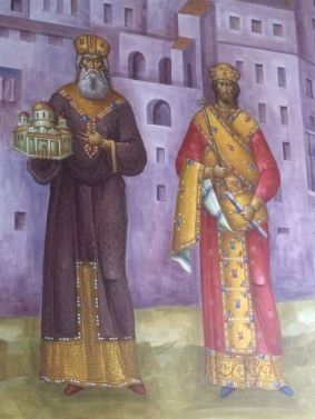 Emperor Andronikos II (left) and his grandson Andronikos III (right)