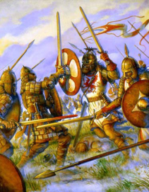 Riothamus' forces (right) clash with the Visigoths (left)