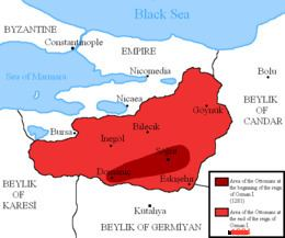 Map of Osman's Turkish empire in 1302 (red)