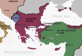 Byzantium (purple) at the beginning of Alexios I's reign