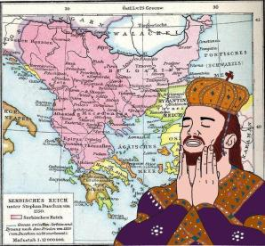 The Serbian Empire of Stefan IV Dusan (pink)