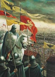 Constantine XI observes the besieging Ottoman army, 1453