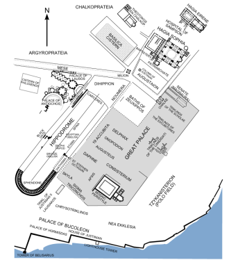 Map of Byzantine Constantinople's palace area