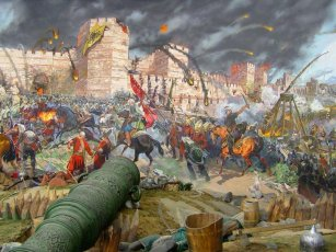 1453, the final siege of Constantinople and fall of Byzantium to the Ottomans