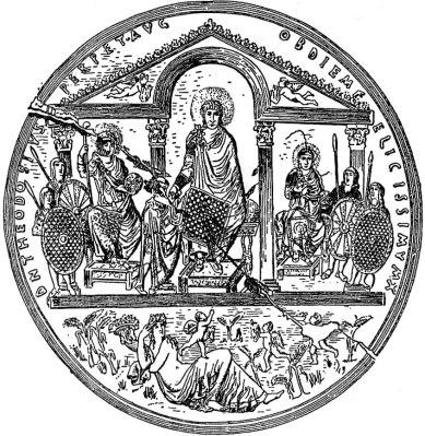 Theodosius I (center) with sons Arcadius (left) and Honorius (right)