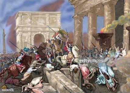 Alaric I and his Visigoths sack Rome, 410