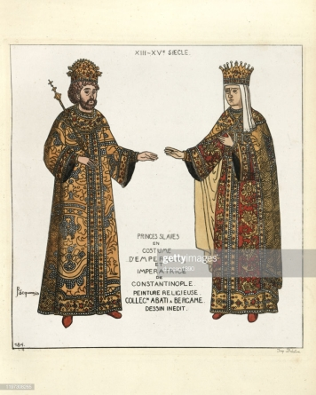 Emperor John V Palaiologos (left) and his wife Empress Helena, daughter of John VI