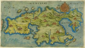 Map of Byzantine era Lesbos, Aegean Sea