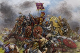 The Battle of Adrianople between the Goths and Romans, 378