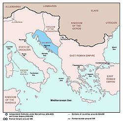 Territory of Julius Nepos in Dalmatia (blue)