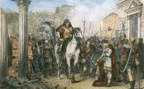 End of the Western Roman Empire, Romulus Augustus surrenders to Odoacer in Ravenna, 476