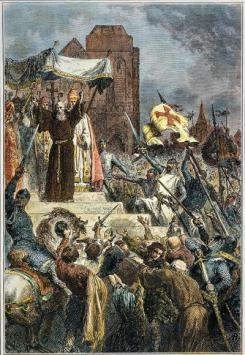 Peter the Hermit leads the People's or Peasant's Crusade