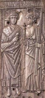 Emperor Basiliscus of Byzantium (left, r. 475-476)