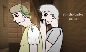 Emperor Honorius (left) and Olympius (right)