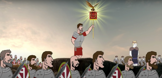 Aetius leads his Western Roman and Visigoth troops in battle, 451