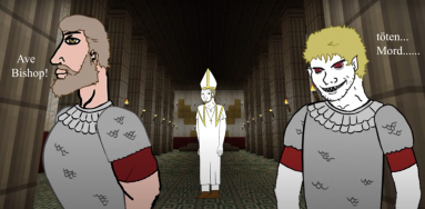 Majorian (left) and Ricimer (right) with Avitus made into a bishop, 457