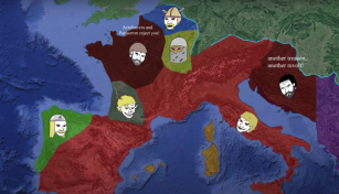 Aftermath of Majorian's death, Western Roman Empire (red)