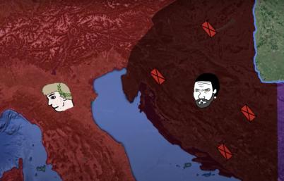Marcellinus' revolt against Valentinian III in Dalmatia, 454 (dark red, left)