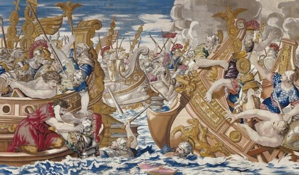 Constantine I's forces defeats Licinius at the Battle of Chrysopolis, 324