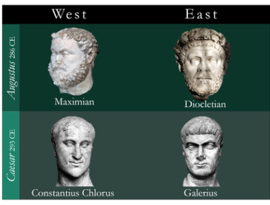 The rulers of the 1st Roman Tetrarchy, 286-305