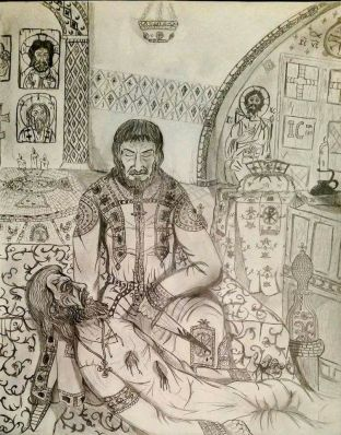 Assassination of Nikephoros II Phokas by John Tzimiskes on the night of December 10-11, 969, art by Spatharokandidatos
