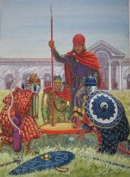 Byzantine imperial shield coronation of Nikephoros II Phokas, 963