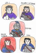 Story Characters Set1- Leo I, Procopius Anthemius, Ricimer, Anicius Olybrius, Zeno