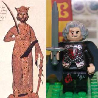 Emperor Nikephoros II Phokas in real life (left) and Lego (right)