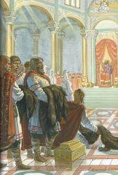 Queen Olga of Kiev visits Constantine VII's court in Constantinople