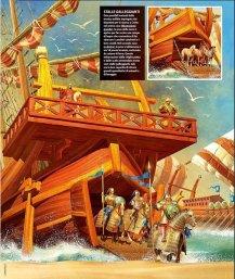 Byzantine Cataphract cavalry unload in Crete's shore using ramps, 960