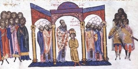 Coronation of Constantine VII as a boy, 913