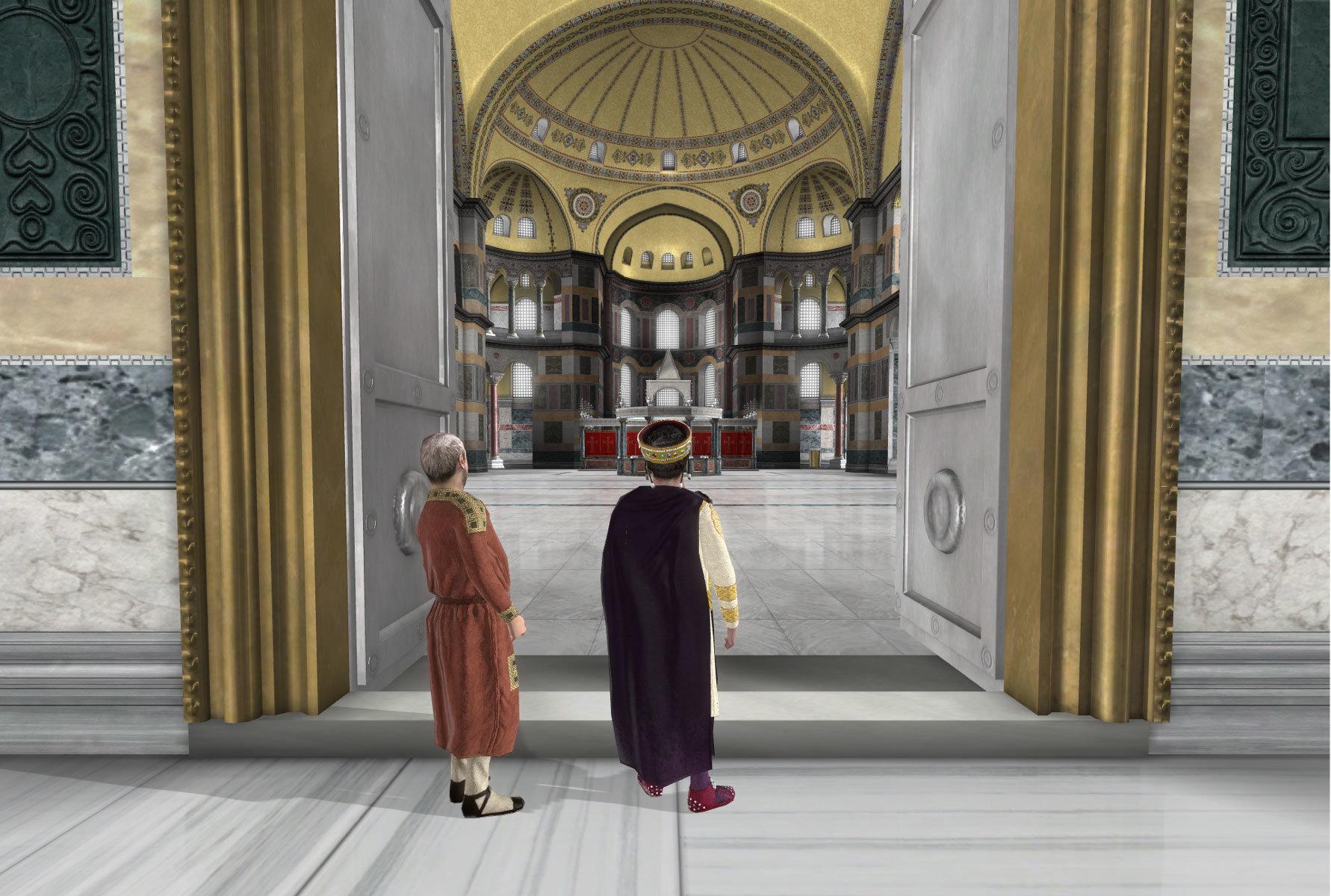 12-Emperor-Justinian-Enters-hagia-sophia-credit-hellenic-world-foundation