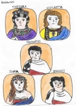 Story characters set2- Theodora, Vigilantia, Procopius, Sophia, John the Cappadocian