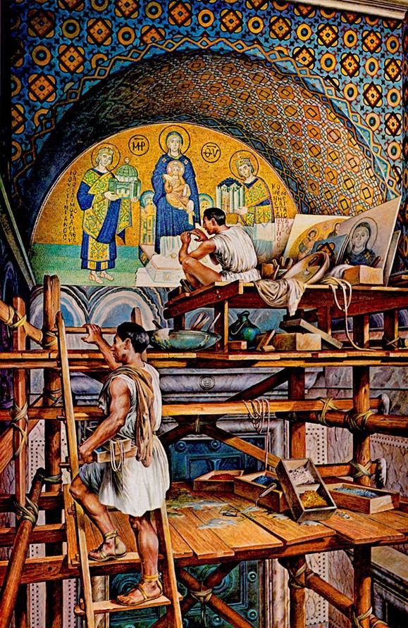 Illustration-of-workers-working-on-the-mosaic-of-Constantine-I-and-Justinian-I-in-the-imperial-church-Hagia-Sophia-in-Constantinople.-artist-Andre-Durenceau.