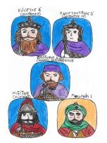 Story characters set1- Constans II, Constantine IV, Theodore Calliopas, Mizizios, Muawiyah