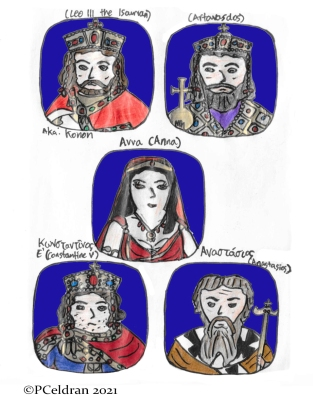 Story characters set1- Emperor Leo III the Isaurian, Artavasdos, Anna, Constantine V, Patriarch Anastasios