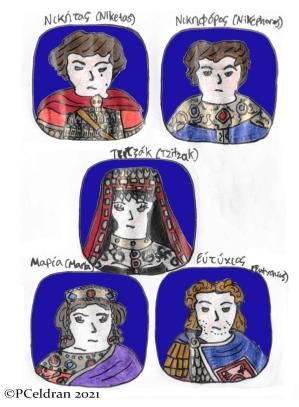 Story characters set2- Niketas, Nikephoros, Tzitzak, Empress Maria, Exarch Eutychius