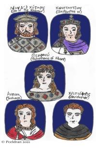 Story characters set2- Emperor Leo IV the Khazar, Emperor Constantine VI, Theophano Sarantapechaina, Anthousa, Christopher Caesar