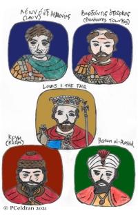 Story characters set3- Leo the Armenian, Bardanes Tourkos, Louis I the Fair, Khan Krum, Caliph Harun al-Rashid