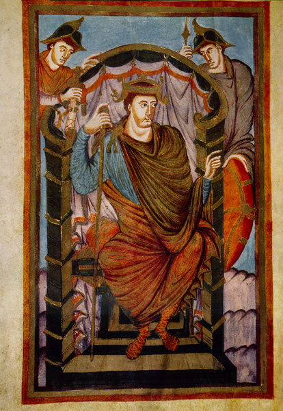 LOTHAIR I (795?-855). Holy Roman Emperor. Carolingian manuscript illumination, c850
