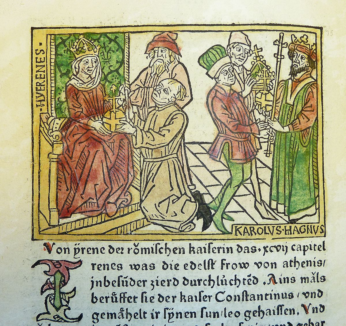 Woodcut_illustration_of_Irene,_Empress_of_the_East,_and_Charlemagne_-_Penn_Provenance_Project