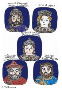 Story characters set1- Manuel I Komnenos, Maria of Antioch, Alexios II Komnenos, Andronikos Komnenos, Isaac Angelos