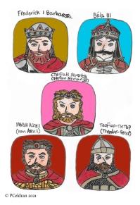 Story characters set3- Frederick I Barbarossa, Bela III, Stefan Nemanja, Ivan Asen I, Theodor-Peter Asen