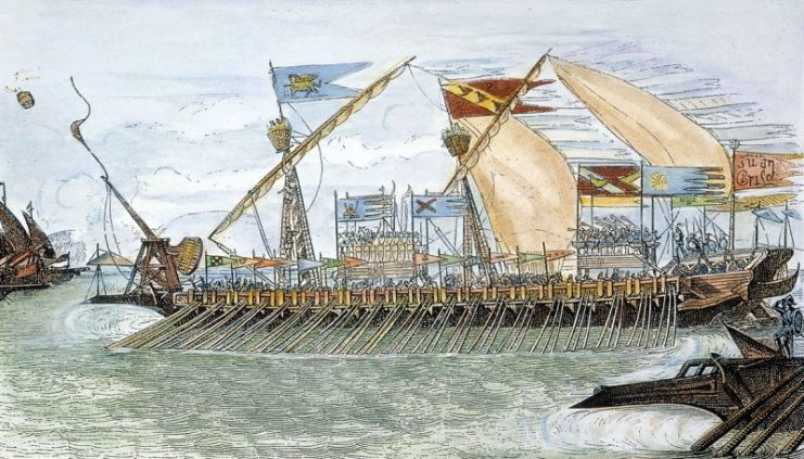 1200px-venetian_galley_at_curzola-engraving-741x423