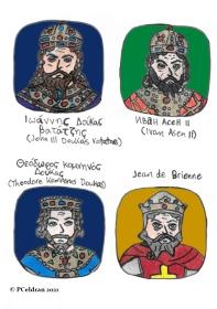 Story characters set1- John III Doukas Vatatzes, Ivan Asen II, Theodore Komnenos Doukas, Jean de Brienne