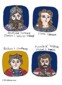 Story characters set2- Theodore II Laskaris-Vatatzes, Elena Asenina, Baldwin II Courtenay, Michael II Angelos